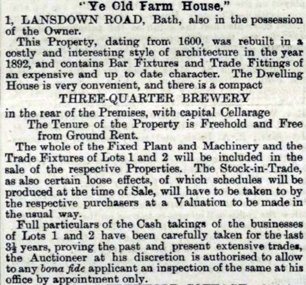 Ye Old Farmhouse advertised for sale in 1895